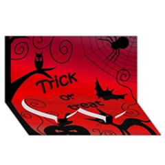 Trick Or Treat   Halloween Landscape Twin Heart Bottom 3d Greeting Card (8x4) by Valentinaart