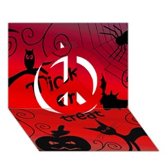 Trick Or Treat   Halloween Landscape Peace Sign 3d Greeting Card (7x5) by Valentinaart