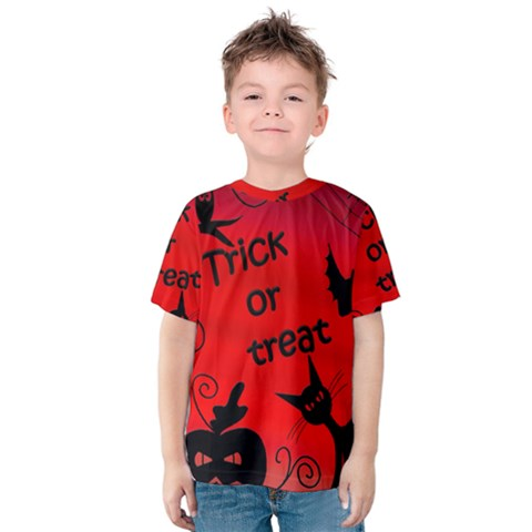 Trick Or Treat - Halloween Landscape Kids  Cotton Tee by Valentinaart
