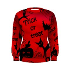 Trick Or Treat   Halloween Landscape Women s Sweatshirt by Valentinaart