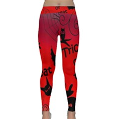 Trick Or Treat   Halloween Landscape Yoga Leggings  by Valentinaart