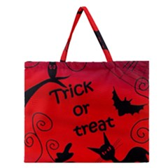 Trick Or Treat   Halloween Landscape Zipper Large Tote Bag by Valentinaart