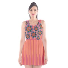 Colorful Floral Dream Scoop Neck Skater Dress by DanaeStudio