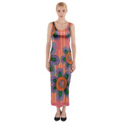 Colorful Floral Dream Fitted Maxi Dress