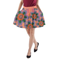 Colorful Floral Dream A Line Pocket Skirt by DanaeStudio