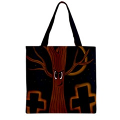 Halloween   Cemetery Evil Tree Grocery Tote Bag by Valentinaart