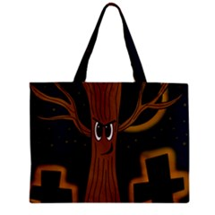 Halloween   Cemetery Evil Tree Zipper Mini Tote Bag by Valentinaart