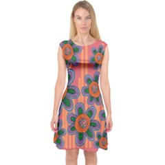 Colorful Floral Dream Capsleeve Midi Dress