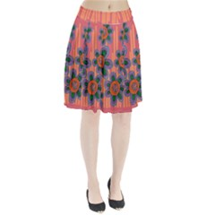 Colorful Floral Dream Pleated Skirt