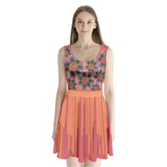 Colorful Floral Dream Split Back Mini Dress  by DanaeStudio