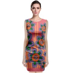 Colorful Floral Dream Classic Sleeveless Midi Dress by DanaeStudio