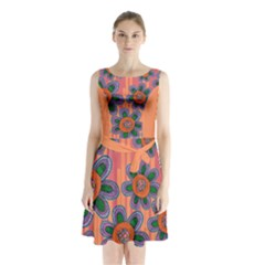 Colorful Floral Dream Sleeveless Chiffon Waist Tie Dress