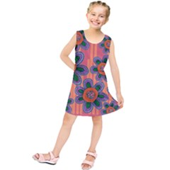 Colorful Floral Dream Kids  Tunic Dress