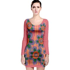 Colorful Floral Dream Long Sleeve Bodycon Dress by DanaeStudio