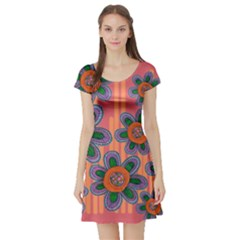 Colorful Floral Dream Short Sleeve Skater Dress by DanaeStudio