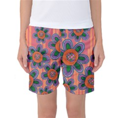 Colorful Floral Dream Women s Basketball Shorts