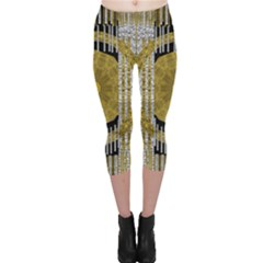 Silver And Gold Is The Way To Luck Capri Leggings  by pepitasart