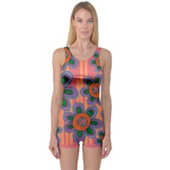 Colorful Floral Dream One Piece Boyleg Swimsuit