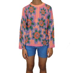Colorful Floral Dream Kids  Long Sleeve Swimwear