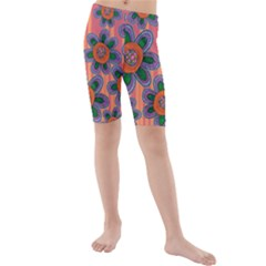 Colorful Floral Dream Kids  Mid Length Swim Shorts