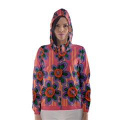 Colorful Floral Dream Hooded Wind Breaker (women) by DanaeStudio