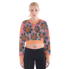 Colorful Floral Dream Women s Cropped Sweatshirt