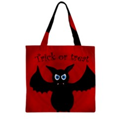 Halloween Bat Zipper Grocery Tote Bag by Valentinaart
