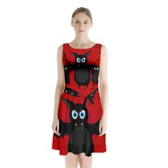 Halloween Bat Sleeveless Chiffon Waist Tie Dress by Valentinaart