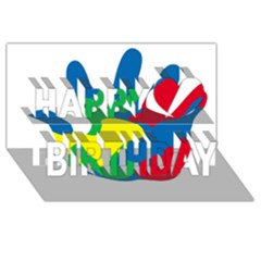 Creativity Painted Hand Copy Happy Birthday 3d Greeting Card (8x4)