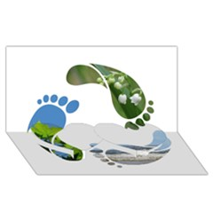 Footprint Recycle Sign Twin Heart Bottom 3d Greeting Card (8x4) by AnjaniArt