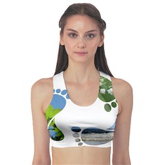 Footprint Recycle Sign Sports Bra by AnjaniArt