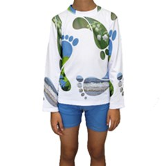 Footprint Recycle Sign Kids  Long Sleeve Swimwear by AnjaniArt