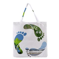Footprint Recycle Sign Grocery Tote Bag by AnjaniArt