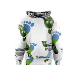 Footprint Recycle Sign Kids  Pullover Hoodie by AnjaniArt
