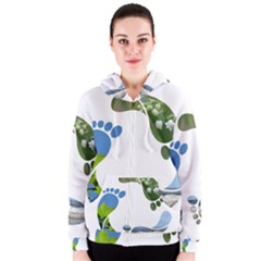 Footprint Recycle Sign Women s Zipper Hoodie by AnjaniArt
