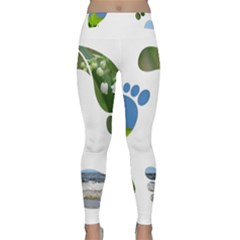Footprint Recycle Sign Yoga Leggings  by AnjaniArt