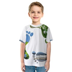 Footprint Recycle Sign Kids  Sport Mesh Tee by AnjaniArt