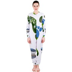 Footprint Recycle Sign Onepiece Jumpsuit (ladies)  by AnjaniArt