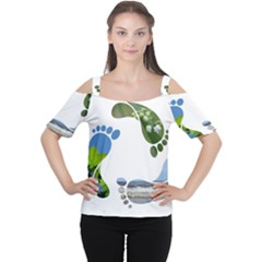 Footprint Recycle Sign Women s Cutout Shoulder Tee by AnjaniArt