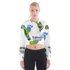 Footprint Recycle Sign Women s Cropped Sweatshirt by AnjaniArt