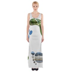 Footprint Recycle Sign Maxi Thigh Split Dress by AnjaniArt