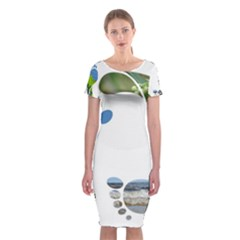 Footprint Recycle Sign Classic Short Sleeve Midi Dress by AnjaniArt