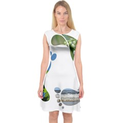 Footprint Recycle Sign Capsleeve Midi Dress by AnjaniArt