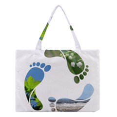 Footprint Recycle Sign Medium Tote Bag by AnjaniArt