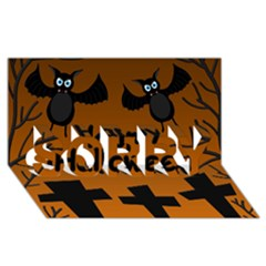 Happy Halloween   Bats On The Cemetery Sorry 3d Greeting Card (8x4)