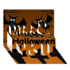 Happy Halloween   Bats On The Cemetery Miss You 3d Greeting Card (7x5) by Valentinaart