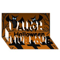 Happy Halloween   Bats On The Cemetery Laugh Live Love 3d Greeting Card (8x4) by Valentinaart