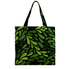 Free Green Nature Leaves Seamless Zipper Grocery Tote Bag by AnjaniArt