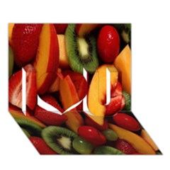 Fruit Salad I Love You 3d Greeting Card (7x5) by AnjaniArt