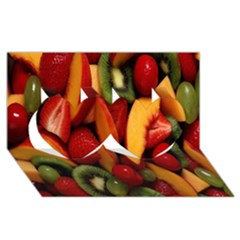 Fruit Salad Twin Hearts 3d Greeting Card (8x4)
